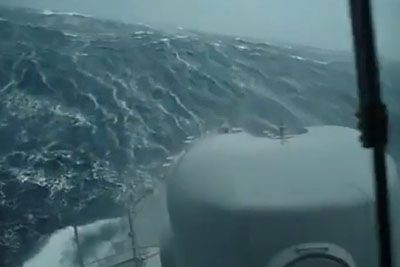 Watch A Ship Battle Absolutely Monstrous Waves In Search For A Missing Submarine