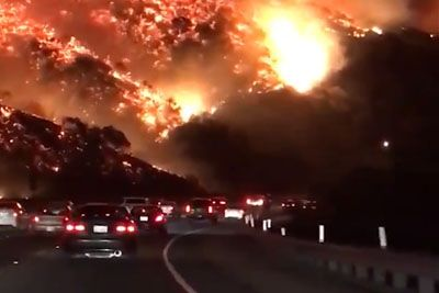This Footage Of Wildfires Raging Outside Of Los Angeles Is Pure Insanity