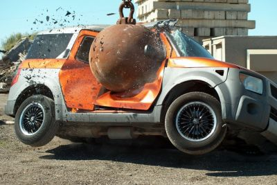 This Is How 4 Ton Wrecking Ball Crashing Cars Looks In Slow Motion