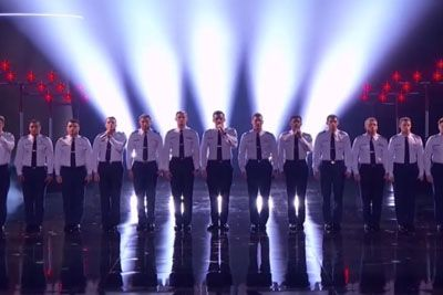 15 Cadets Line Up On Stage, 30 Seconds Into The Song The Crowd Goes Crazy