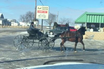 Hilarious Scene Captured On Camera In A Frozen Amish Town