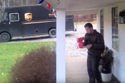 UPS Driver Finds Gift On Doorstep, Hidden Camera Captures His Hilarious Response
