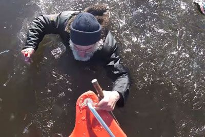 Estonian Firefighters Save A Mand Drowning In A Frozen Lake