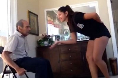 Young Woman Holds Out Hand To Grandpa, Their Dance Moves Win Over The Internet