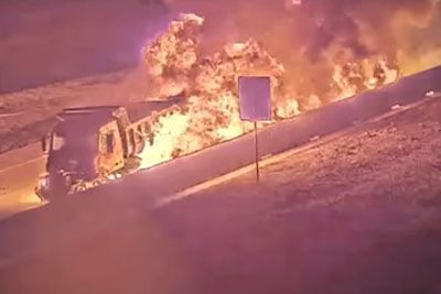 Dump Truck Crashes And Explodes Into Fiery Hell Train On Highway 360