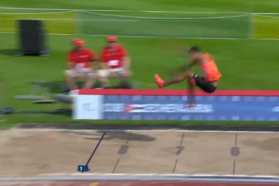 19-Year-Old Athlete Almost Clears The Sand Pit With This Insane Long Jump