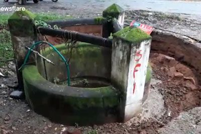 Shocking Moment Water Well Sinks Into Ground Without A Trace