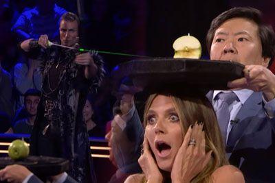 Aaron Crow Dangerously Shoots Apple Off Heidi Klum's Head On AGT