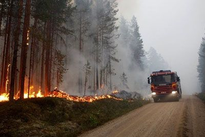 Polish Firefighters Come To Help Sweden From The Wildfires