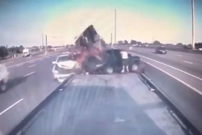 Car Smashes Right Into Broken-Down Truck. It's A Miracle Everyone Survived!