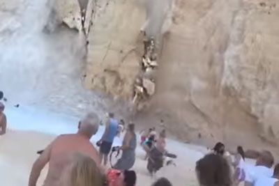 Cliff Collapse On Zakynthos Captured On Camera, Leaving Several Injured