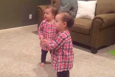 Identical Twins Hear Daddy's Guitar Begin Dance That Has Even Mommy In Laughter