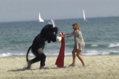 Remi Gaillard Pranks Strangers Dressed As An Angry Spanish Fighting Bull