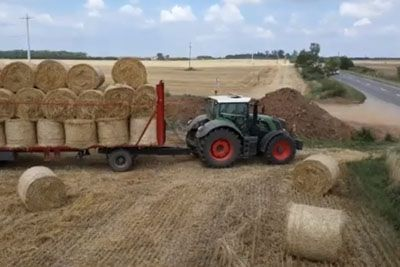 This Is How They Transport Bales Of Hay In The Netherlands With A Tractor