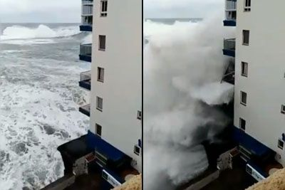 Tenerife Hit By A Massive Storm, Giant Waves Destroyed The Balconies
