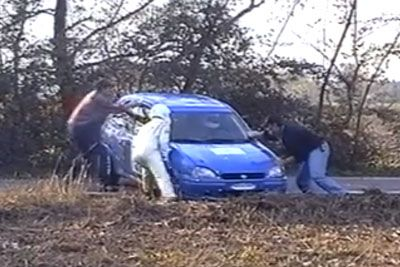 Rally Driver Crashes His Car, Then Hilarious Scene Follows