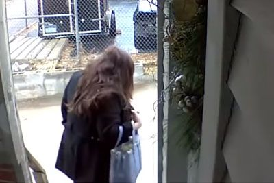 Woman Slips On The Ice In The Morning, Security Cam Captures Hilarious Outcome