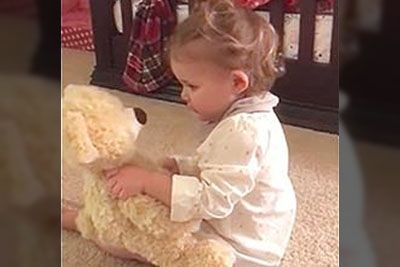 Baby Girl Gets Bear From Deployed Daddy, Flips Out When She Squeezes Its Hand