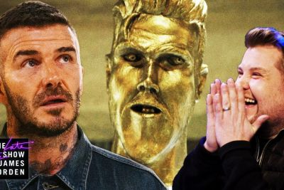 James Corden Delivers Most Hilarious Statue Prank To David Beckham