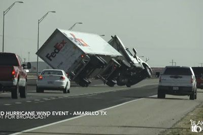 High Winds From 'Bomb Cyclone' Overturn Semi On Texas Highway