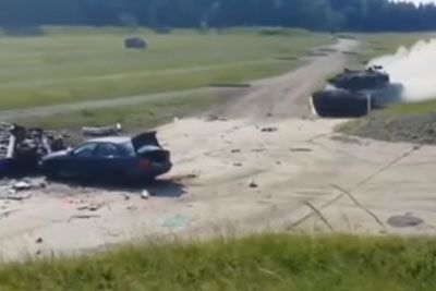 Tank Hits A Car At High Speed During Testing