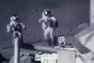 Someone Sped Up Footage Of The Moon Landing And It's Totally Hilarious