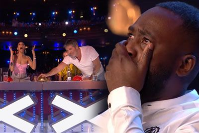 Comedian Kojo Starts Crying After Simon Cowell's Golden Buzzer For His Act On BGT