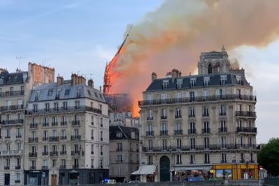 Fire Destroyed The Cathedral Of Notre Dame In Paris, The Central Spire Collapsed