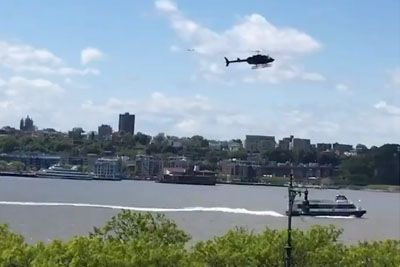 Helicopter Plummets Out Of The Sky Into New York's Hudson River