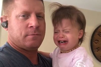 Hilarious Father Shows Simple Trick How To Stop His Daugher From Crying