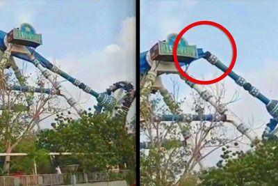 Theme Park Pendulum Ride Snaps In Midair