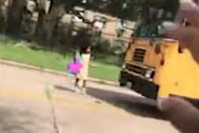 Teenage Driver Blows Past Stopped Bus In Texas, Almost Hits A Child