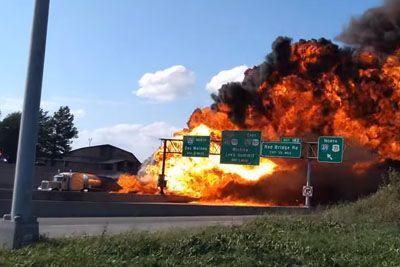 Fuel Tanker Fire Engulfs Highway In Raytown, Missouri