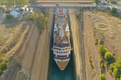 Braemar Makes History Squeezing Through Tiny Corinth Canal In Greece