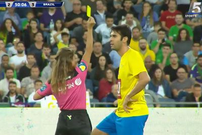 Female Referee Shows A Yellow Card, Takes A Selfie With Ricardo Kaka