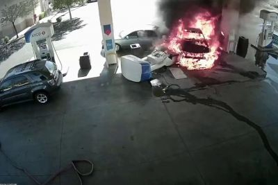 Impaired Mustang Driver Crashes Into Gas Pump