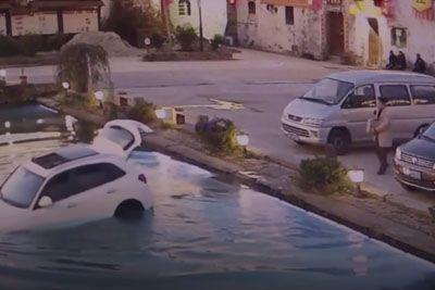 Dog Drives Owner's Car Into A Pond After Being Left Inside
