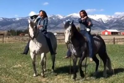 Girls Open Champagne Bottles While On Horseback And Spook The Horses
