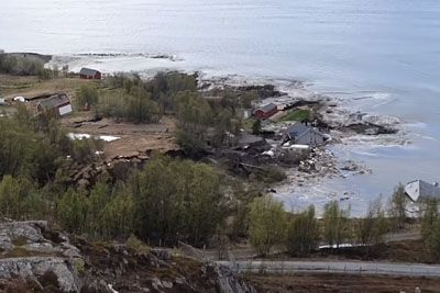 Huge Mudslide Dragging Several Houses Into The Sea In Alta, Norway