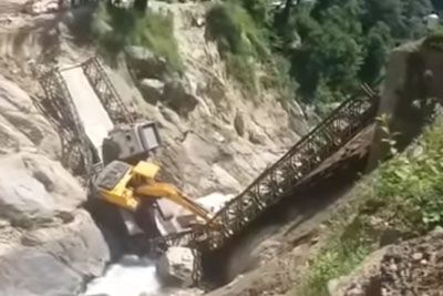 Bridge Collapses Under Truck With Heavy Load