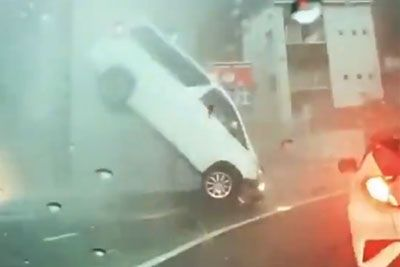 Unlucky Car Gets Destroyed Amid Bad Flooding In Japan