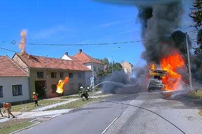 Firefighters Experience Close Call With An Exploding Tire