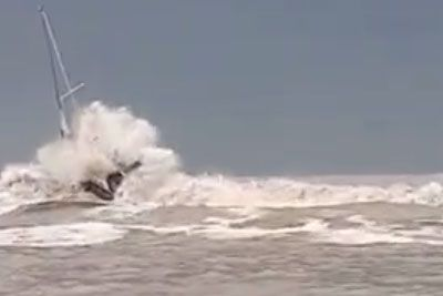 Dramatic Footage Of A Sailboat In Rough Sea From Italy