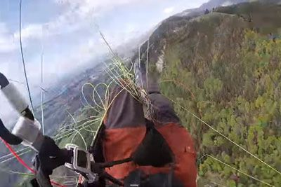 Near Fatal Paragliding Moment Where Chute Almost Doesn't Open