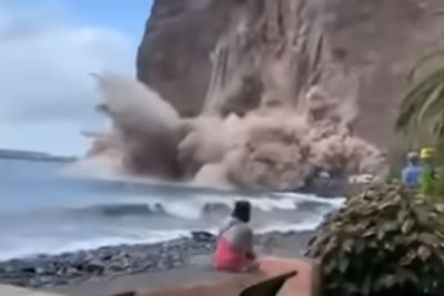 Terrifying Moment Cliff Collapses Next To Screaming Onlookers