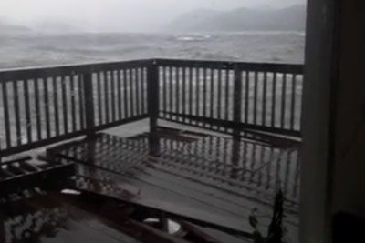 10-Foot-Tall Waves Wreck A Beach Deck In Southeastern Alaska