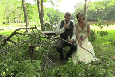Bride And Groom Barely Dodge Falling Tree