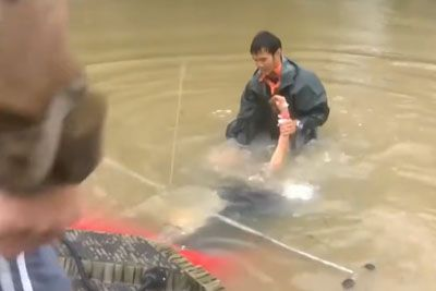 Man Saves Woman And Her Dog Seconds Before Car Sinks